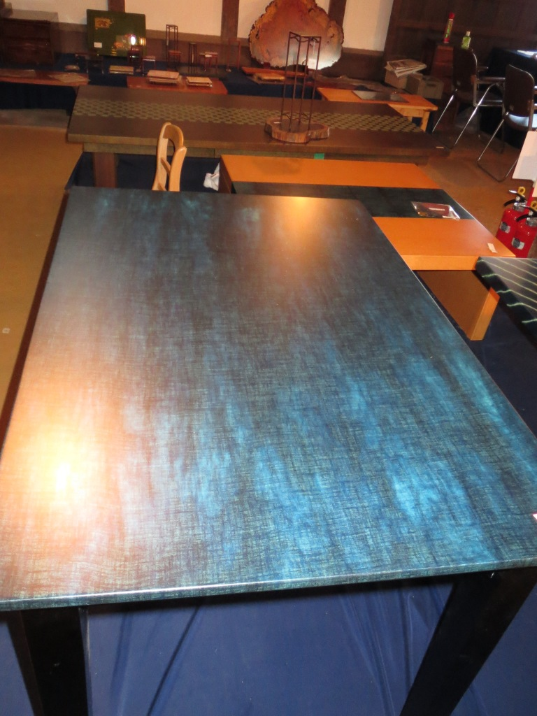 A full table dyed with aizome.