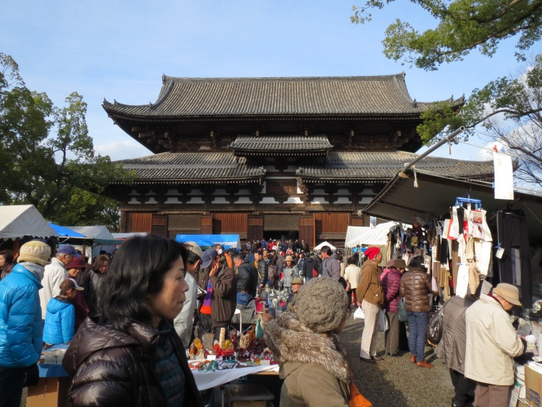 The main temple at To-ji with the flea market in front.