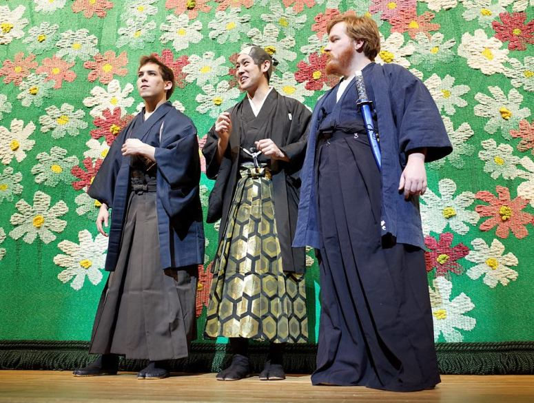 The Daimyo and his bodyguards.  I had to learn how to tie a hakama pretty quickly to dress these three.