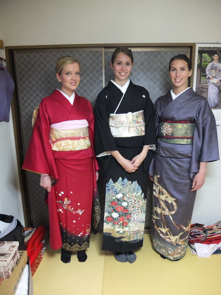 All three girls enjoying their kimono experience!