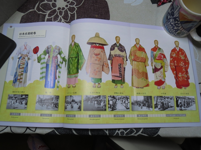 A page from the souvenir book showing the progression of the kimono through the different eras.