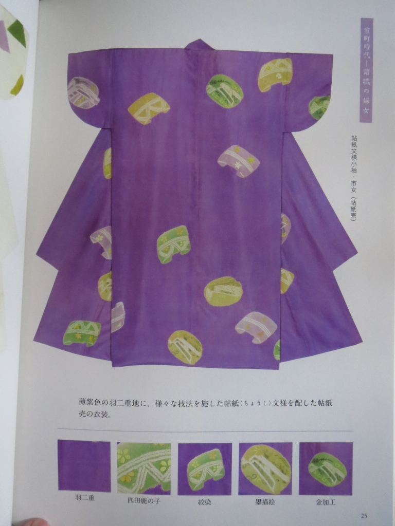 An example page from the souvenir book.  This is a good example of what I was describing with the small sleeves and seemingly wider back panels.  You can also a list of the different techniques used to create this kimono at the bottom.